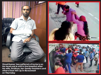 Techie's estranged wife, her family thrash him on the road