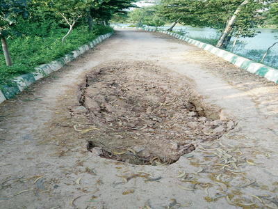 Kasavanahalli Lake pathway gives in