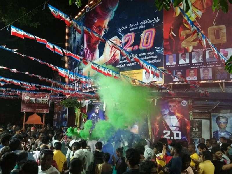 Thalaiva fans turn up outside Aurora Talkies in Matunga
