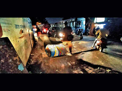 Now, manhole blocks Congress Bhavan Rd