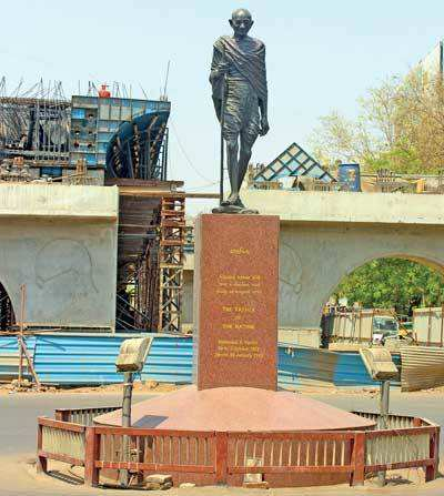 Ahmedabad: Flyover casting a shadow, iconic Mahatma Gandhi statue may soon leave Income Tax junction