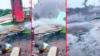 On cam: Major mishap averted as overhead water tank comes crashing down