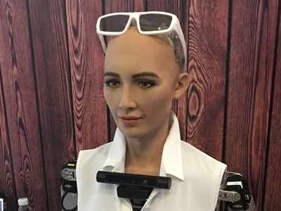 Humanoid robot Sophia disappoints techies at Fintech fest in Vizag
