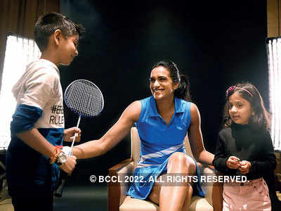 PV Sindhu spotted with young fans in Mumbai