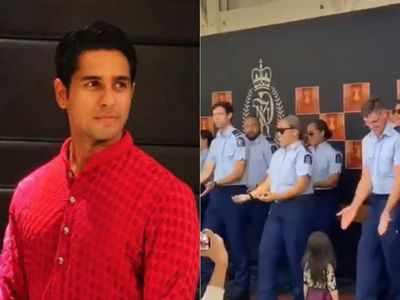Sidharth Malhotra reacts to New Zealand police dancing to Kala Chashmah and Kar Gayi Chull at Diwali party