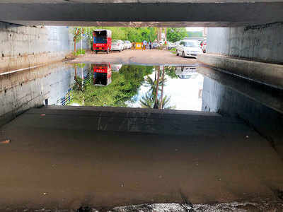 Underpass at riverbed choked by waterlogging