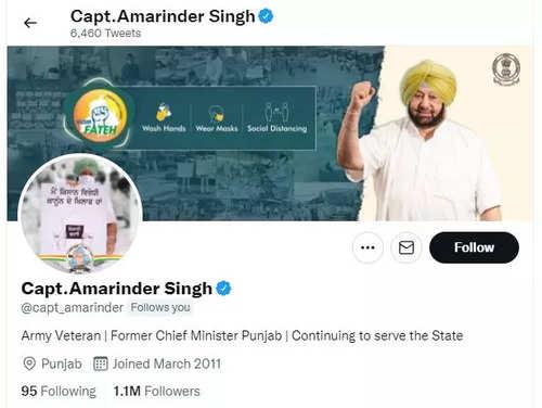 Amarinder Singh removes 'Congress' from Twitter bio