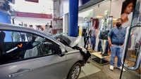 Chandigarh: Car nearly rams into showroom, hits pillar