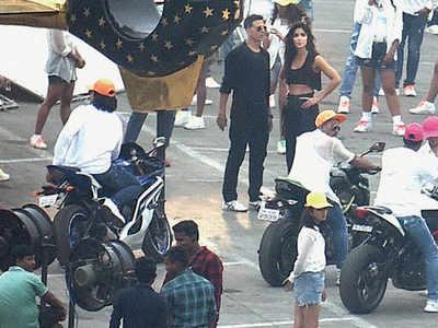Lights, camera and high-octane action for Akshay Kumar and Katrina Kaif as they shoot for Sooryavanshi song in Mumbai