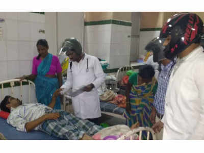 Hyderabad: Doctors wear helmets while treating patients in dilapidated Osmania Hospital building