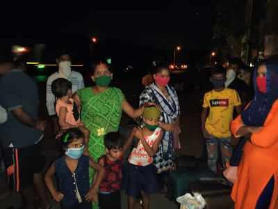 Stranded migrant workers await their turn to reach home