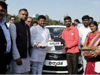 First 70 cars under self-employment scheme Airavata for SC/ST youth flagged off