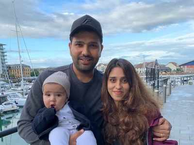 Rohit Sharma shares lovely picture of wife and daughter cheering for Team India