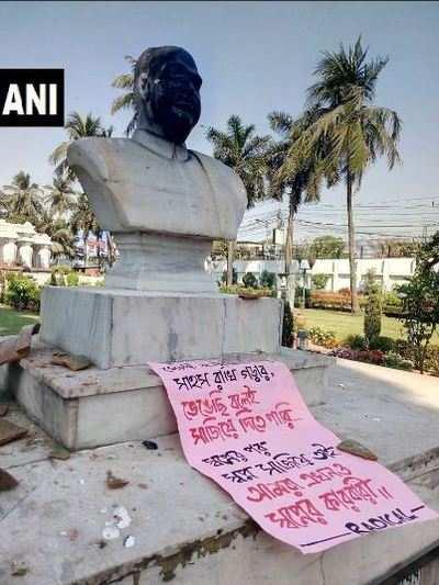 After Lenin in Tripura and Periyar in Tamil Nadu, now Jan Sangh founder Shyama Prasad Mukherjee's statue vandalised, blackened in Kolkata