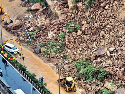 Red alert in Mumbai region; Shams Shaikh narrates how boulders landed in front of his car in Kandivali