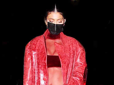 Kylie Jenner stuns in all-red red leather at pal Justin Bieber's album party