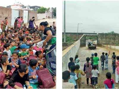 Kids protest waterlogged roads, study out in open