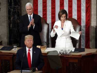 House Speaker Nancy Pelosi rips US President Donald Trump speech. Right there on the podium