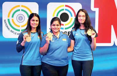 India win gold in women's 25m pistol team event