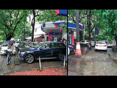 Pavement blocked by cars in Churchgate