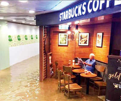 Old man calmly sips coffee in flooded Starbucks