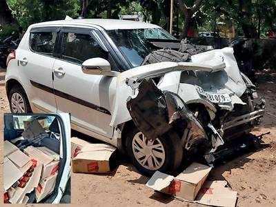 Crash forces driver to abandon daru-laden car