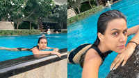 Nia Sharma looks radiant as she beats the mid-week blues in a pool massage bed