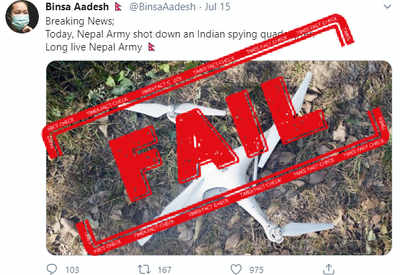 Fake alert: 2017 photo used to falsely claim Indian spying quadcopter shot down by Nepal Army