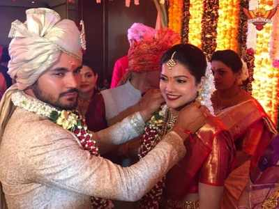 Indian cricketer Manish Pandey and Tamil actor Ashrita Shetty tie the knot