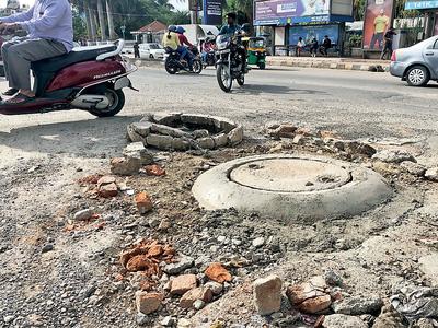 Not rain, but sewage floods Bengaluru roads
