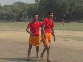 Cricket in dhotis, commentary in Sanskrit