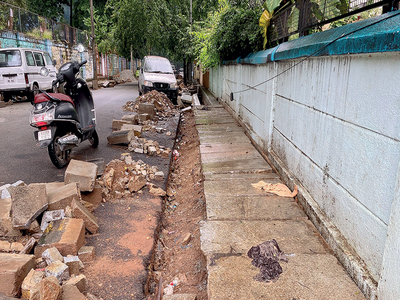 Footpaths have become narrower due to road work in Basavanagudi