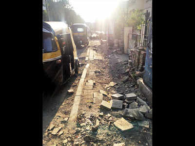 Dilapidated footpath at Market Yard a problem