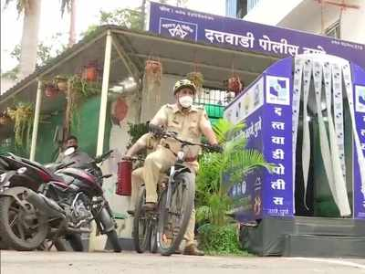 COVID-19: Cop from Pune's Dattawadi police station cycles across jurisdiction to spread awareness, stay fit