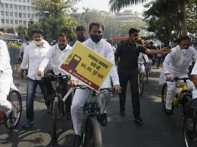 Maharashtra: Ahead of Budget session, Congress leaders hold cycle rally to protest against fuel price hike