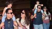 Taimur waves to paparazzi as he returns from London with mom Kareena Kapoor Khan and daddy Saif Ali Khan