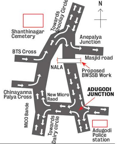 Pipeline work to cause traffic diversion at Adugodi