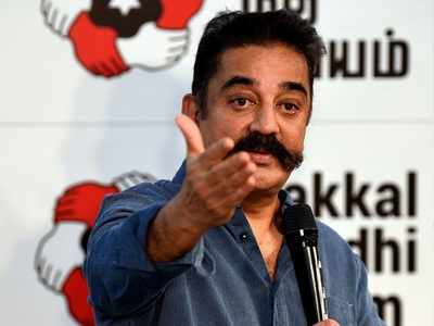 Chappals hurled at actor-turned-politician Kamal Haasan while addressing election meeting