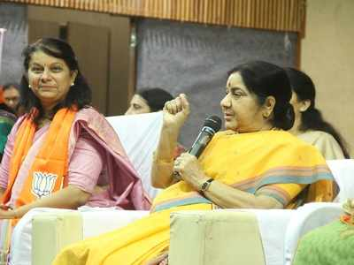 Sushma Swaraj asks women workers to equip themselves with facts while seeking vote for PM Narendra Modi