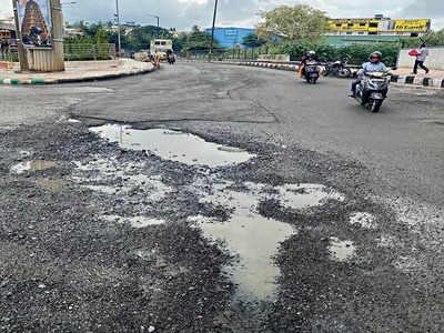 Potholes respawn at Nayandahalli Junction