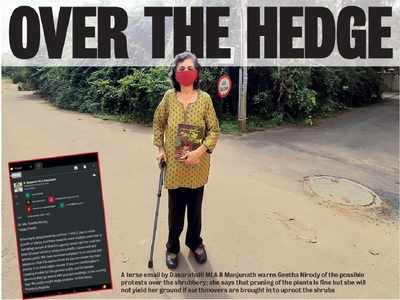 Dasarahalli MLA is sending out stinkers to this senior citizen, threatening her of protests since path to a temple is getting 'blocked'