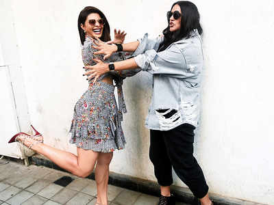 Jacqueline Fernandez and Neha Dhupia spotted at Khar