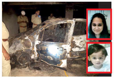 Mother, son charred to death inside car