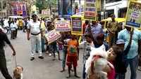 Kolkata Police holds awareness rally in Bhowanipore with pets and stray dogs
