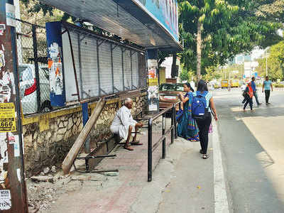 PMPML bus stand at SB Road in shambles