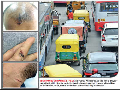 Bengaluru Techie chased, stabbed by auto-wallah driving on wrong side of road