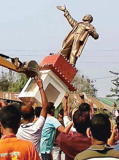 CPI(M) lashes out at BJP as Lenin 'falls' in Tripura