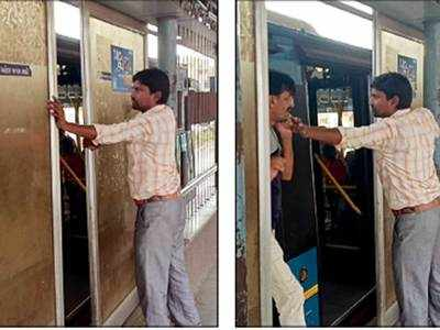 Automatic doors installed at several BRTS stops malfunction; Citizens forced to open doors for themselves