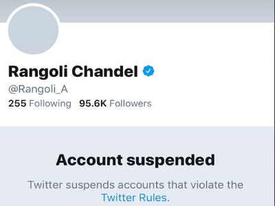 Twitter suspends Rangoli Chandel's account for violating rules