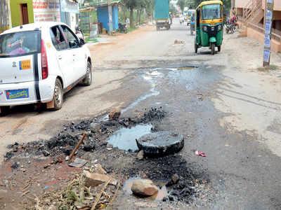 Crater-like potholes, overflowing drains give Bengaluru's Herohalli residents broken bones